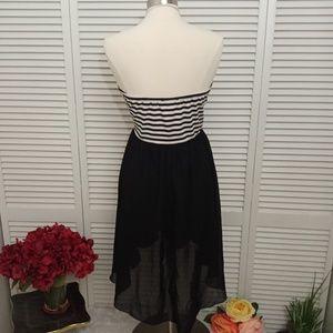 Deb Dresses - Deb strapless black and white stripe chiffon dress